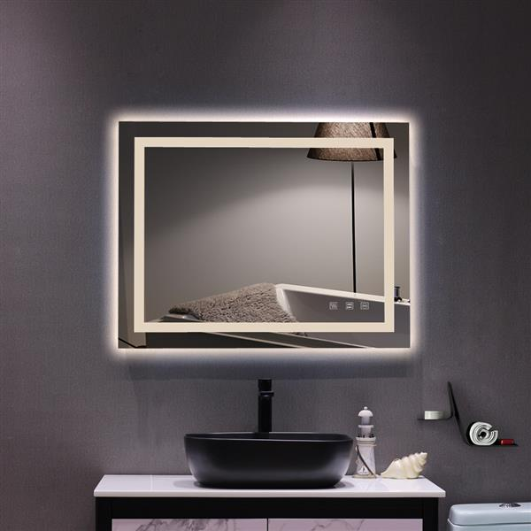 """Square Touch LED Bathroom Mirror, Tricolor Dimming Lights-36*28"""""""