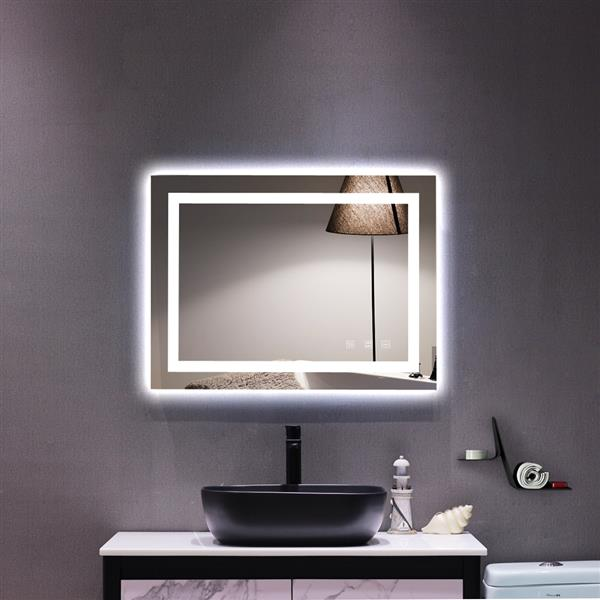 """Square Touch LED Bathroom Mirror, Tricolor Dimming Lights-32*24"""""""