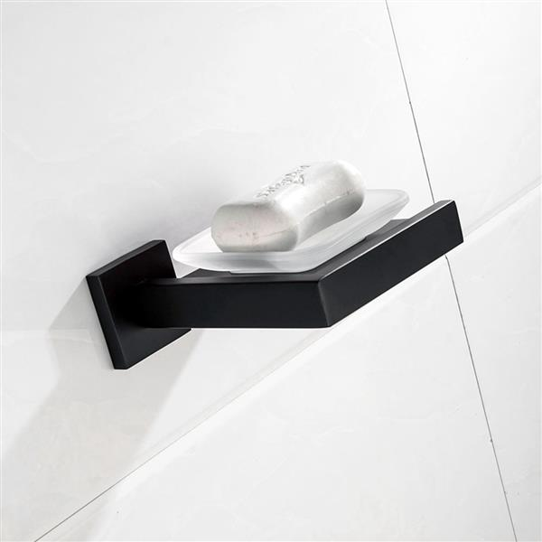 Matte Black Soap Dish Rust-Proof 304 Stainless Steel Square Soap Holder with Removable Dish Silver Bathroom Accessories Soap Dispenser KJQ7007HEI