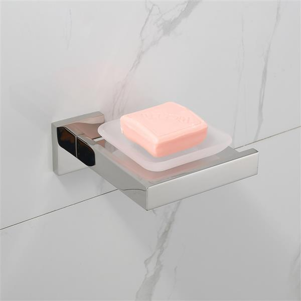 Bright Polishing Soap Dish Rust-Proof 304 Stainless Steel Square Soap Holder with Removable Dish Silver Bathroom Accessories Soap Dispenser KJ71507YIN