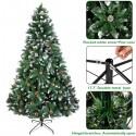Christmas Tree 6FT 920 Branches Flocking Spray White Tree Plus Pine Cone (YJ)