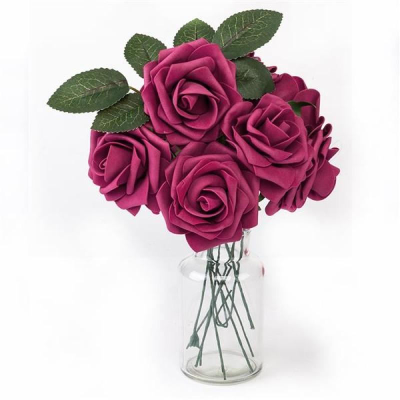 50pcs PE Foam Rose Flower Wine Red