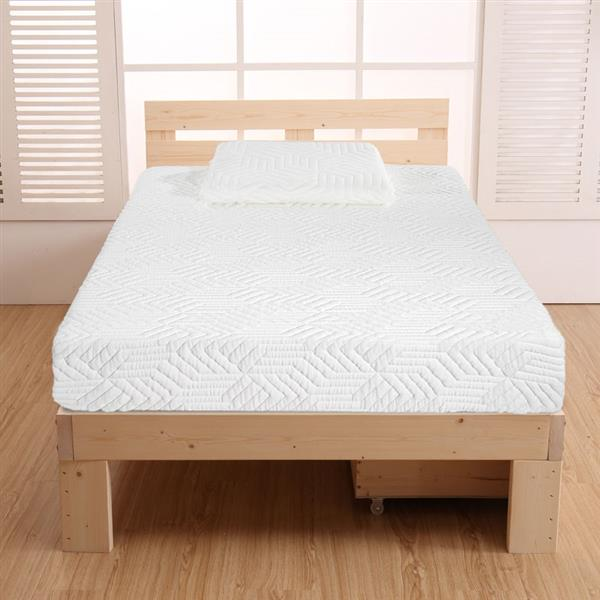 """10"""" Two Layers Traditional Firm High Softness Cotton Mattress with 2 Pillows (Twin Size) White"""