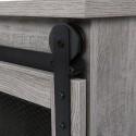 FCH Sliding Mesh Barn Door Entryway Cabinet TV Stand Gray