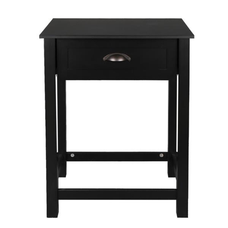 FCH 1-Drawer Nightstand End Table Black