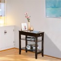 (28.45 x 64 x 61cm)Two Layers of Bedside Table with Drawers Brown