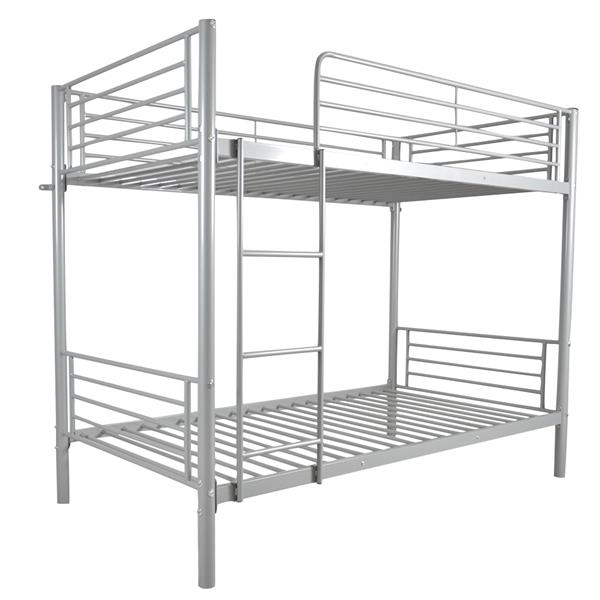 [US-W]Iron Bed Bunk Bed with Ladder for Kids Twin Size Gray