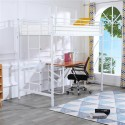 Iron Single-storey Elevated Twin Bed White with Rubber Pad Ladder