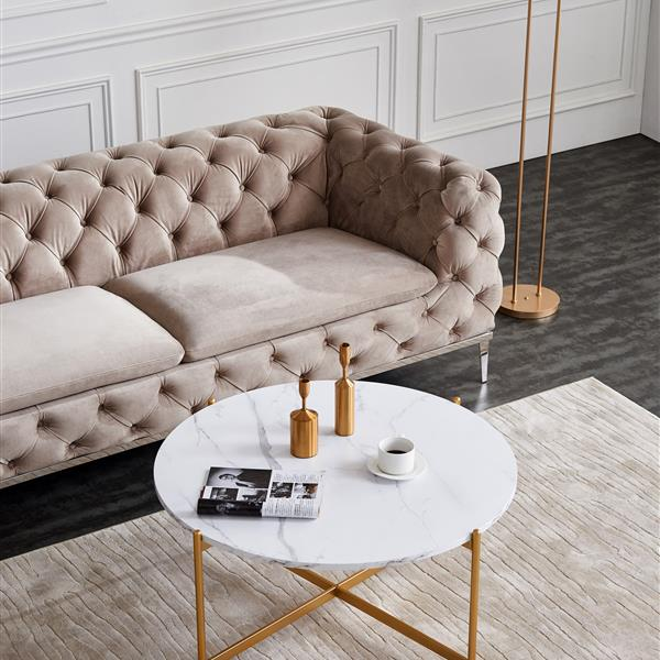 """Modern Round coffee table,golden color frame with marble wood top-36"""""""