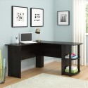 FCH L-Shaped Wood Right-angle Computer Desk with Two-layer Bookshelves Dark Brown
