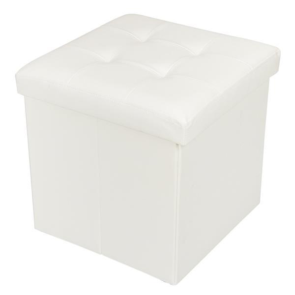 38*38*38 PVC Leather Square Shape Storage Ottoman Concave Surface White