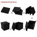 FL-01S Practical PVC Leather Square Shape Footstool Black