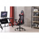 High Back Swivel Chair Racing Gaming Chair Office Chair with Footrest Tier Black & Red